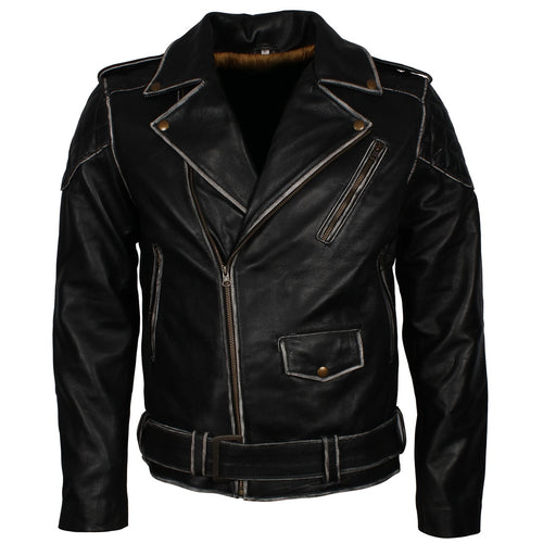 Mens New Retro Style Distressed Rub Off Real Leather Black Biker Jacket in All Sizes - TheBeardWarehouse