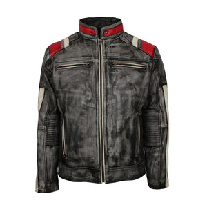 Men's Retro Quilted Striped Italian Designer Distressed Grey Motorcycle Leather Jacket ( XS TO 5XL) - TheBeardWarehouse