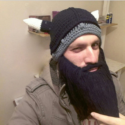 Gift Winter Cap Handmade Knit Crazy Ski Viking Beard Horns Hat Cool Beanies - TheBeardWarehouse