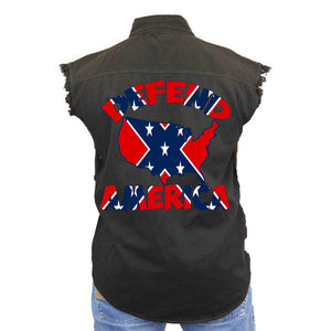 Men's Confederate Rebel Flag Sleeveless Denim Vest Defend America Biker Shirt - TheBeardWarehouse