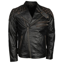 Mens Skull Black Distressed Leather Vintage Motorcycle Leather Jacket - TheBeardWarehouse