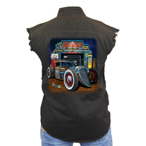 Men's Sleeveless Denim Shirt Rat Rod Garage Biker Vest - TheBeardWarehouse