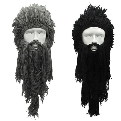 New Fashion Wig Long Beard Viking Hats Handmade Knit Warm Winter Fashion - TheBeardWarehouse