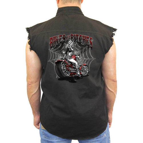 Men's Sleeveless Denim Shirt Bikes And B**ches - TheBeardWarehouse