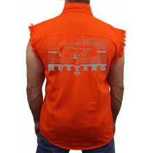Men's Sleeveless Denim Shirt Ford Mustang Honeycomb Grille Biker - TheBeardWarehouse