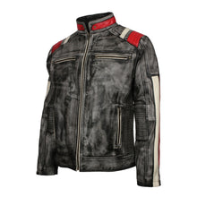 Men's Retro Quilted Striped Italian Designer Distressed Grey Motorcycle Leather Jacket - TheBeardWarehouse