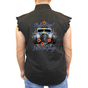 Men's Sleeveless Denim Shirt Bulletproof Hot Rod Garage - TheBeardWarehouse