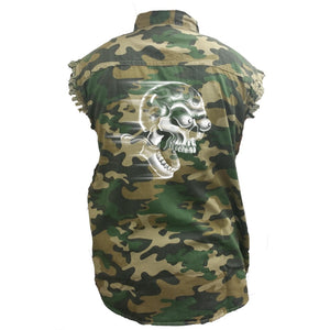 Men's Camo Sleeveless Denim Shirt Shut Up And Ride Speed Skull - TheBeardWarehouse