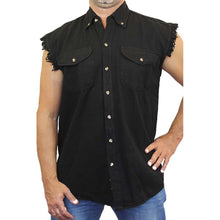 Men's Camo Sleeveless Denim Shirt American Speed Shop Hot Rod Denim Vest - TheBeardWarehouse
