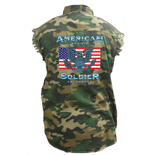 Men's Camo Sleeveless Denim Shirt American By Birth, a Soldier - TheBeardWarehouse