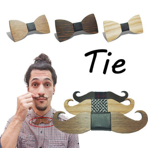 Mustache Shape Bow Tie Handmade Wooden for Men's Gift Wedding - TheBeardWarehouse