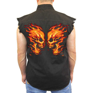 Men's Sleeveless Denim Shirt Flame Skull Face Off Biker - TheBeardWarehouse