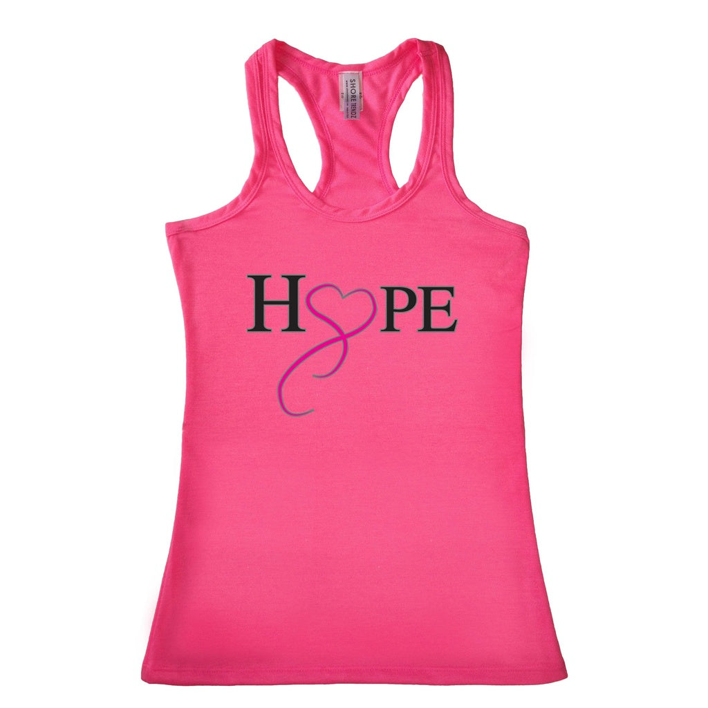 Women's HOPE & LOVE Breast Cancer Awareness Racerback TANK TOP PINK - TheBeardWarehouse