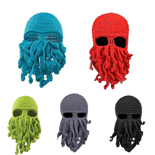 Unisex Mask Ski Beanie Hat Squid Octopus Beard Cthulhu Tentacles Sea Cap Winter - TheBeardWarehouse