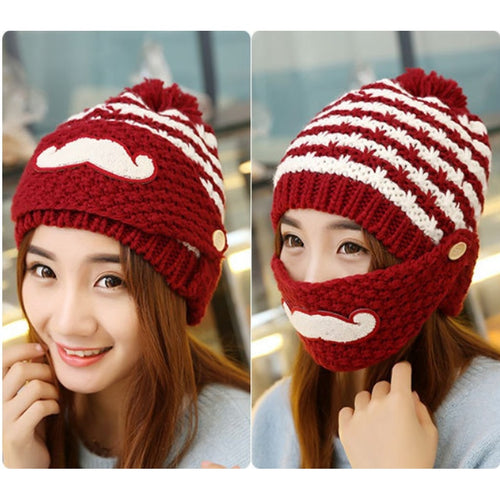 Winter thick velvet hat fashion lady cute knit wool cap ear beard hat warm mask hat - TheBeardWarehouse