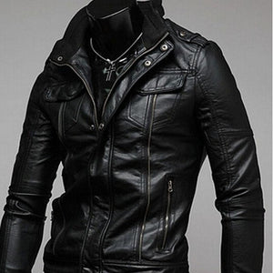 Akio Motorcycle Leather Pocket Jacket Coat