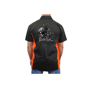 "Biker Mechanic Work Shirt ""High Roller Skull"" BLACK/ORANGE - TheBeardWarehouse"
