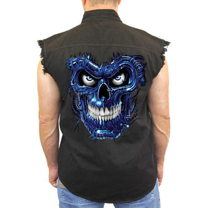 Men's Sleeveless Denim Shirt Blue Robotic Skull Biker - TheBeardWarehouse