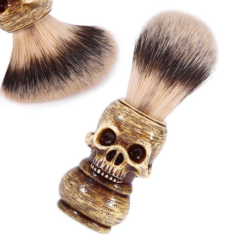 Beard Shaving Brush Skull Head Badger Hair Brush Mens Grooming Tool
