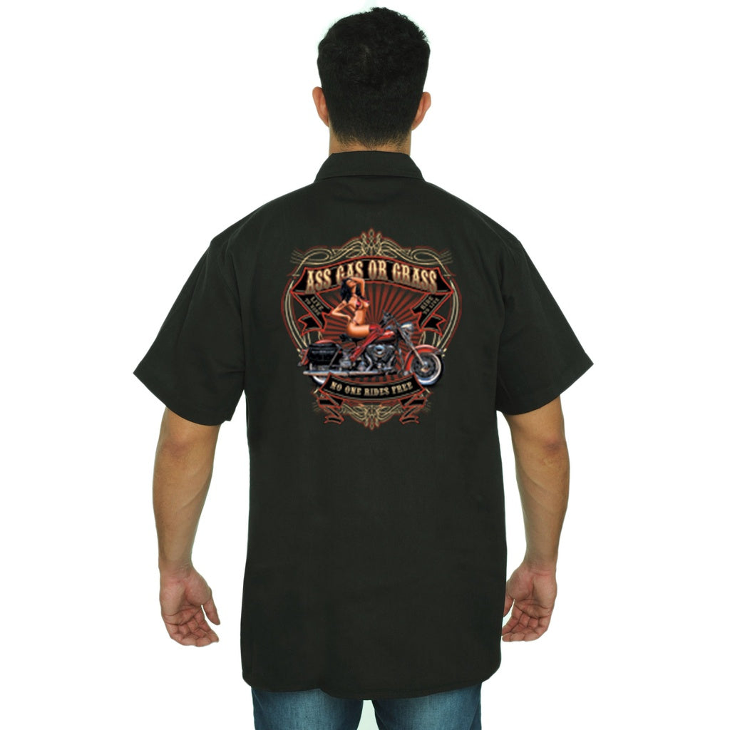 Men's Mechanic Work Shirt Ass, Gas, Or Grass - TheBeardWarehouse