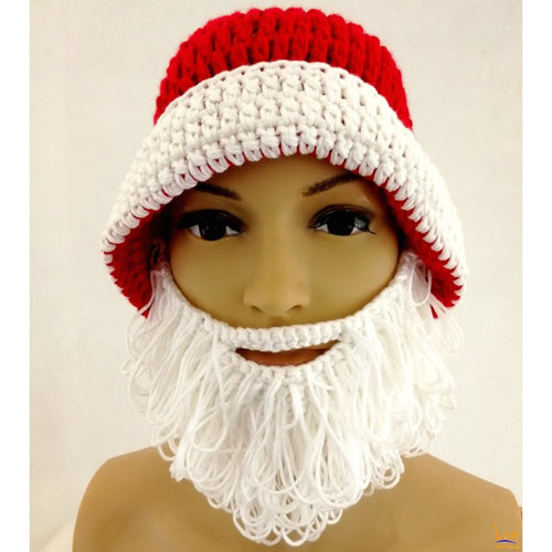 Santa Beard Hat - Women Men's Knitted Santa Hat with Beard Wind Guard - Beanie Style Christmas Wear - TheBeardWarehouse