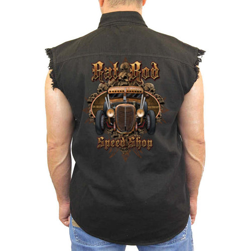 Men's Sleeveless Denim Shirt Rad Rod Speed Shop - TheBeardWarehouse