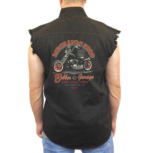 "Sleeveless Denim Shirt ""Mechanic Shop Bobber Garage"" - TheBeardWarehouse"