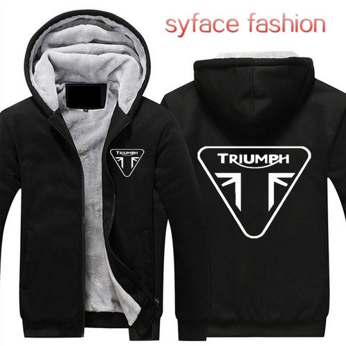 Triumph Motorcycle Thicken Hoodie Zipper Coat Jacket