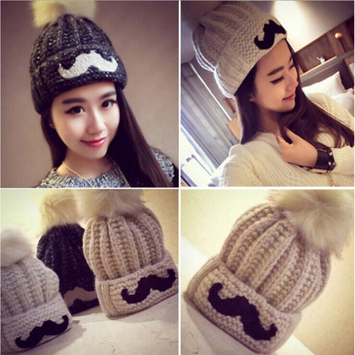 New Women's Fashion Winter Knitted Wool Caps Hairball Bearded Hat - TheBeardWarehouse