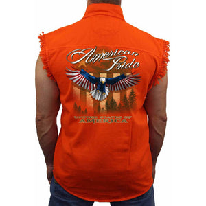 Men's American Pride United States Sleeveless Denim Shirt ORANGE - TheBeardWarehouse