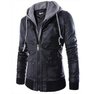 Slim Hooded leave two men's motorcycle leather jacket