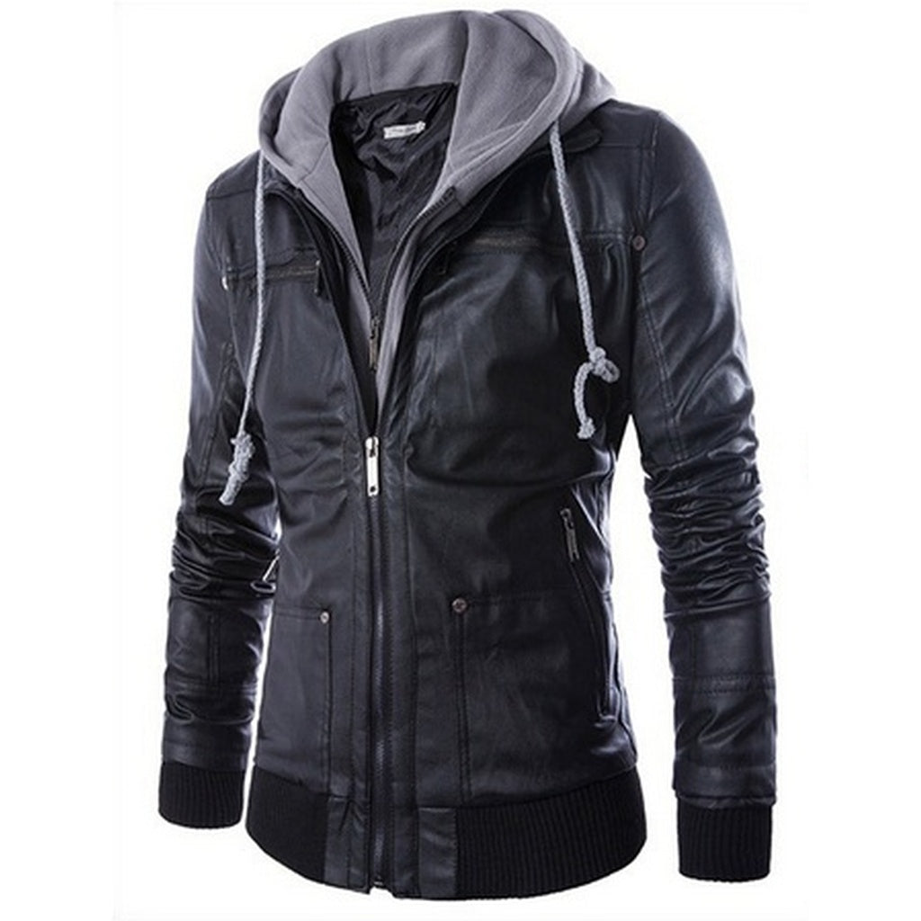 Slim Hooded leave two men's motorcycle leather jacket - TheBeardWarehouse