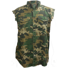 Men's Camo Sleeveless Denim Shirt Bullet Proof Hot Rod Garage Denim Vest - TheBeardWarehouse