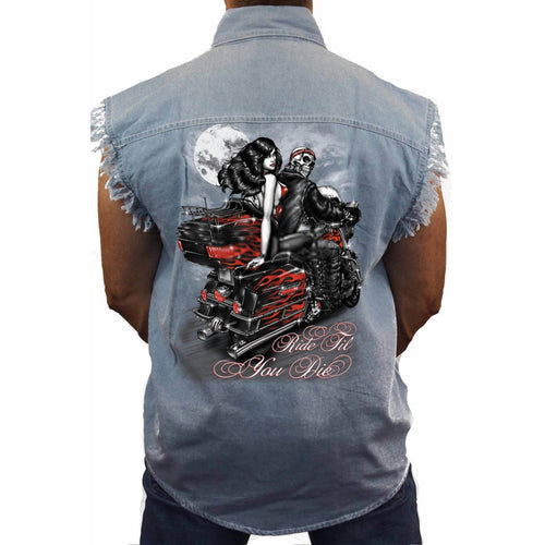 Men's Sleevless Denim Shirt Ride Till You Die - TheBeardWarehouse