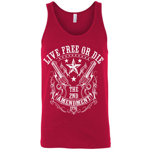 Men's Tank Top Shirt Live Free or Die 2nd Amendment - TheBeardWarehouse