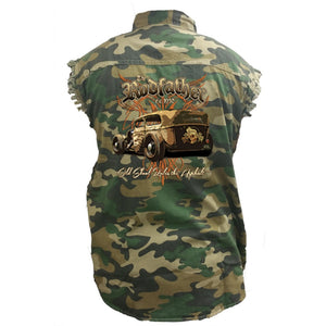Men's Camo Sleeveless Denim Shirt The RodFather - Classic Car - TheBeardWarehouse