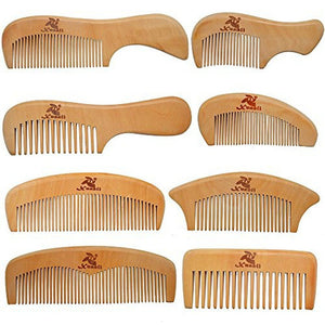 8 Pcs The Family Of Hair Comb - Wood with Anti-Static Handmade for Beard, Head Hair, Mustache - TheBeardWarehouse