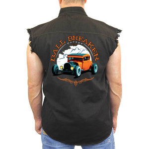 Men's Sleeveless Denim Shirt Ball Breaker Garage - TheBeardWarehouse