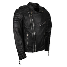 Mens Double Zipper Biker Style Lambskin Black Leather Jacket - TheBeardWarehouse