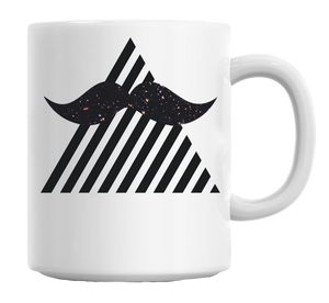 Triangle Hipster Moustache Design Mug - TheBeardWarehouse