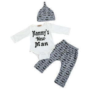 Newborn Baby Boy Clothes Sets Mustache Tops T-shirt Pants Casual Leggings - TheBeardWarehouse