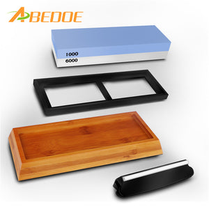 Double-Sided Knife Sharpening Stone Whetstone Water Stone with Non-Slip Rubber Base - TheBeardWarehouse