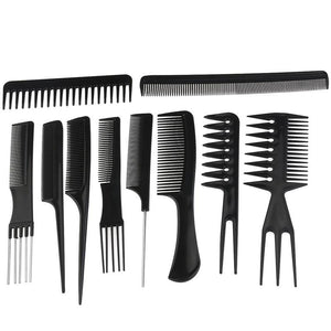 10pcs Professional Hair Styling Combs Hairdresser Accessories Tools Set - TheBeardWarehouse