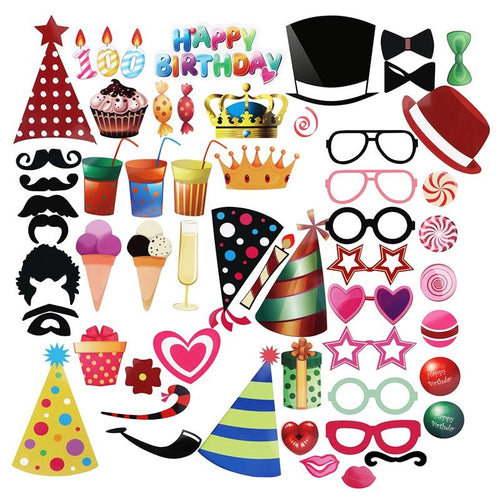 56pcs DIY Hat Glasses Moustache Red Lips Bow Ties On Sticks Birthday Party Photo Booth Props - TheBeardWarehouse