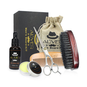 Men's Beard Fluid+Beard Wax+Comb+Brush+Scissors Combination - TheBeardWarehouse