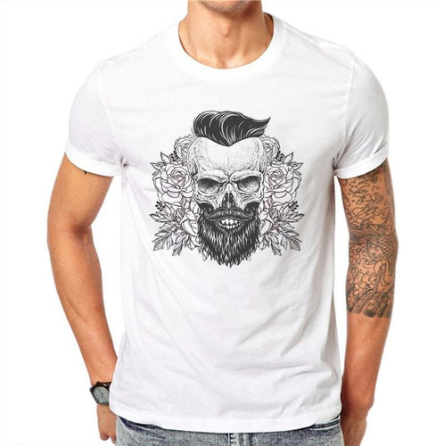 100% Cotton Summer Sketch Beard Skull Design Men T Shirts Fashion Short Sleeve Tops - TheBeardWarehouse
