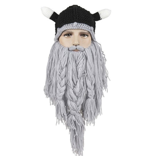 Viking Beanie Beard Hat Handmade Winter Warm Birthday Cool Gift - TheBeardWarehouse