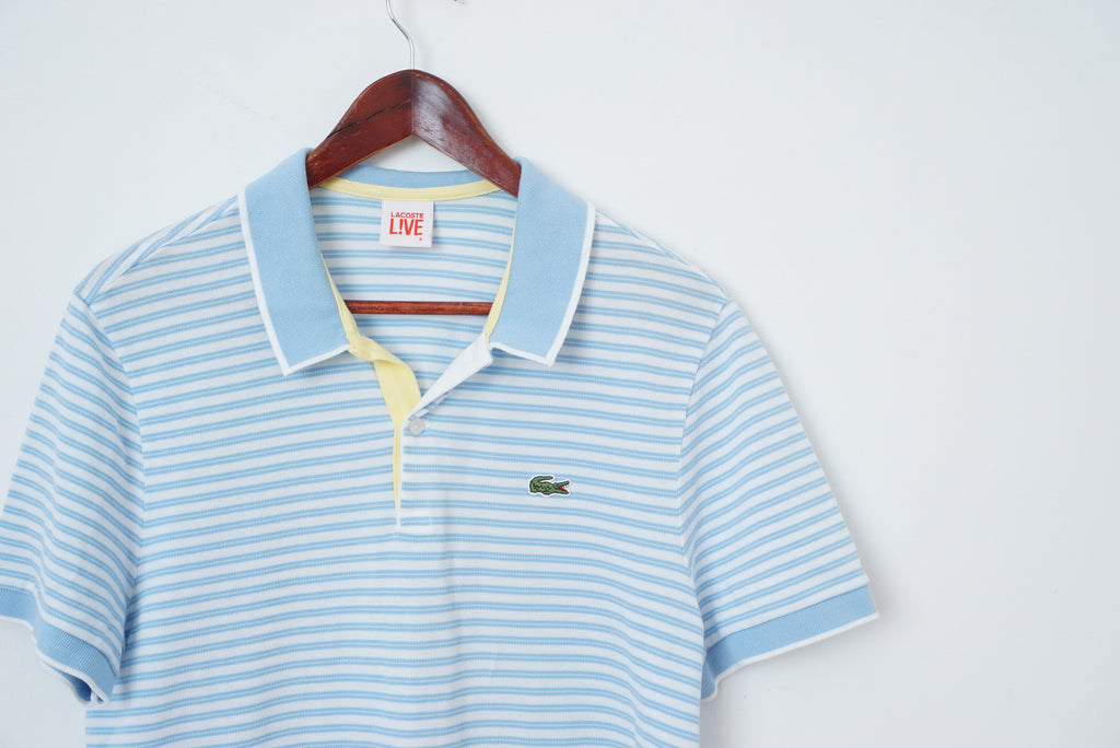 Cotton2054 Striped Shirt Live Polo Lacoste M Blue Mans White 6 Baby D9YeEHbW2I