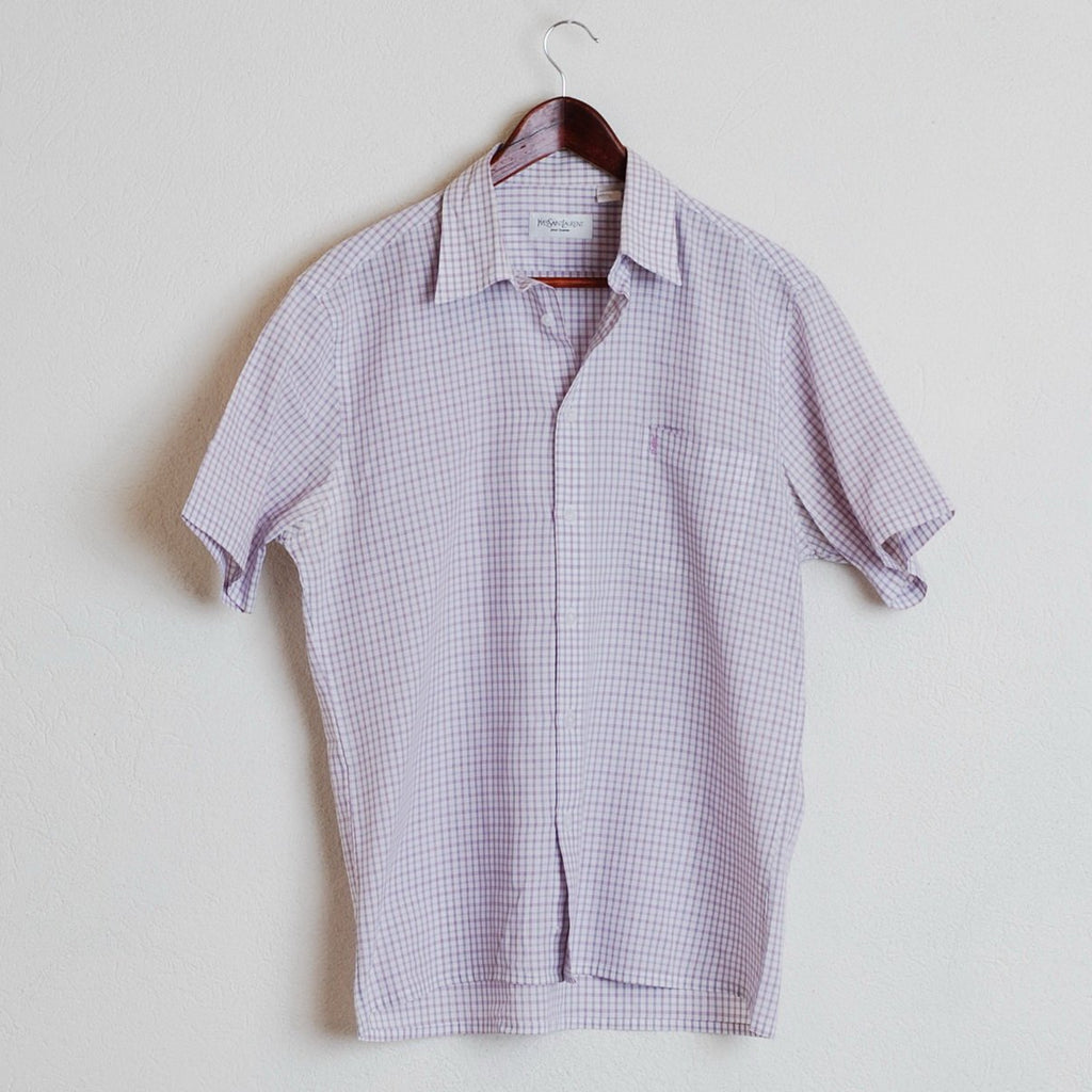95e642dbeb3 YSL Yves Saint Laurent Paris Casual Shirt Mens Purple Short Sleeve Cotton  Blend L  844 ...