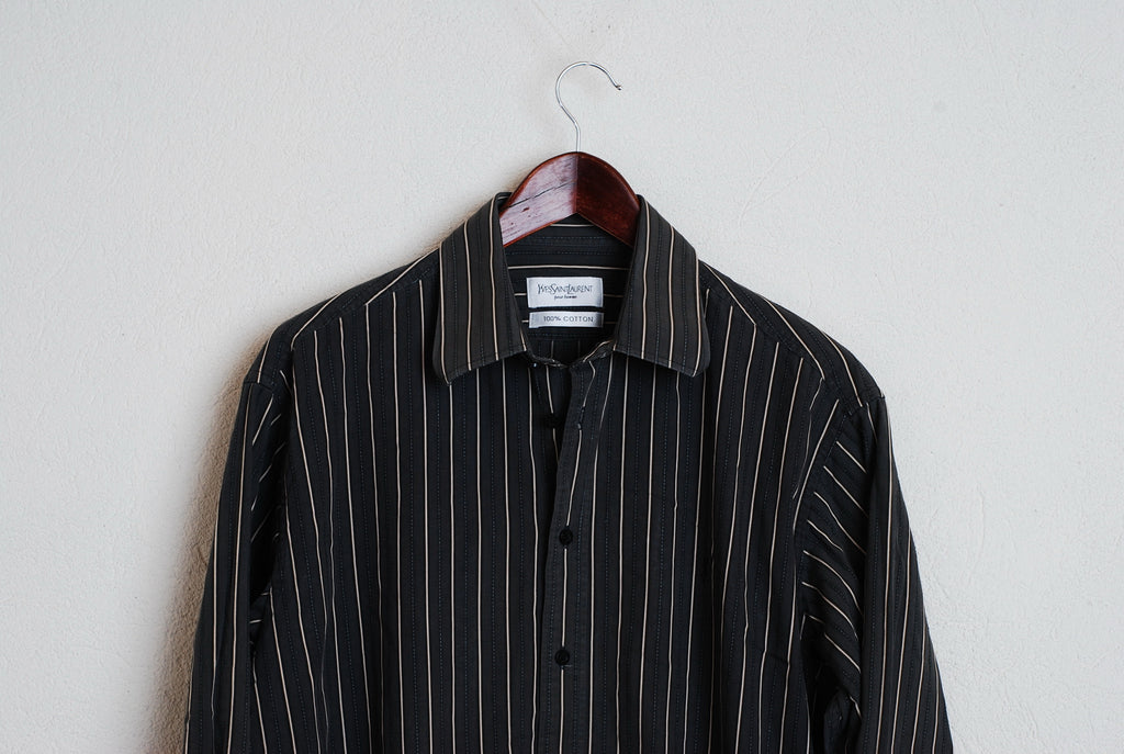 6d779690a56 YSL Yves Saint Laurent Paris Casual Shirt Striped Black Long Sleeve Cotton  XL #768